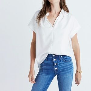 Madewell Central Shirt In Pure White Size XXS